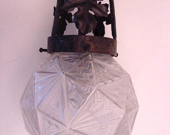 art deco small French ceiling lamp on wrought iron fixture