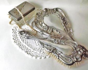 Hairbrush U0026 Mirror, Antique Dressing Table Set Silver Plated Brides Gift,  Ladies Vanity Item