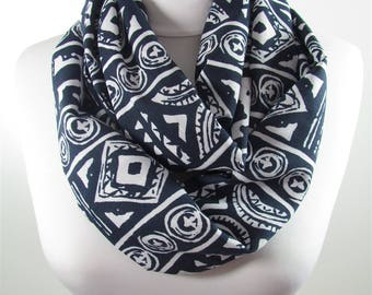 Tribal Scarf Infinity Scarf Women Navy Blue Loop Scarf Fall Winter Fashion Scarf Accessories Gift For Women Mom 101