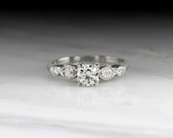 Antique Early Art Deco Engagement Ring with Old European Cut Diamond Center and Diamond Accents in Platinum R740