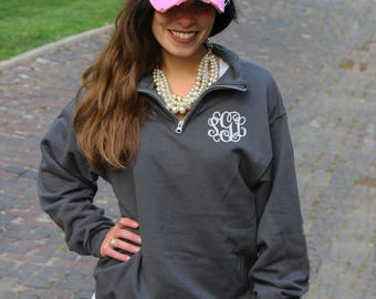 Monogram Pullover | Personalized Quarter Zip Sweatshirt | Monogrammed College Classic Popover | Multiple Colors | Gift Under 30 Dollars