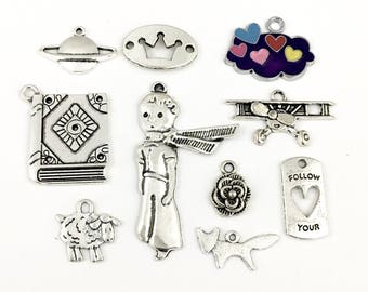 10 prince  charms antique silver and enamel # ENS A 211