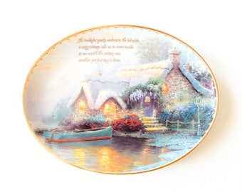 "Thomas Kinkade Guiding Lights plate ""Lockhaven Cottage"" 1998 / wall decor collectible plate"