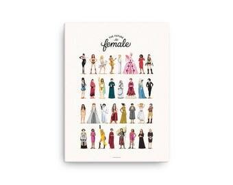 CANVAS The Future is Female Print, Who Run the World Music Poster, Art Gift for Her, Fun Pop Art Wall Art, Feminism Art Print, Girlboss