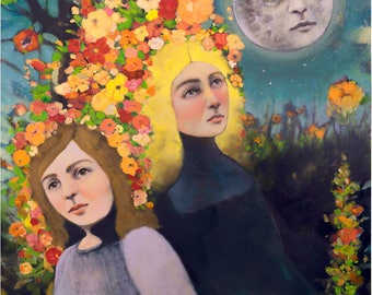 """Limited Edition Giclee Print """"Anticipation of the Comet"""" Shannon Richardson 16x20, Harvest Moon art, celestial art, sisters, Full moon art"""