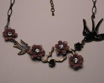 Vintage Bronze Victorian-Style Bird and Flower Chain Necklace