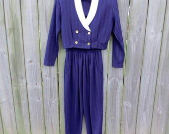 VINTAGE Navy and White Knit Pant Suit Next Left - Crop Top High Waist Pant Super Cute S/M