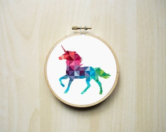 Geometric Unicorn Modern Counted Cross Stitch Pattern   Colourful Rainbow Triangles Mythical Unicorn Silhouette   Instant PDF Download