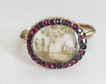 Georgian Miniature Pastoral Scene Ring with Garnet Surround