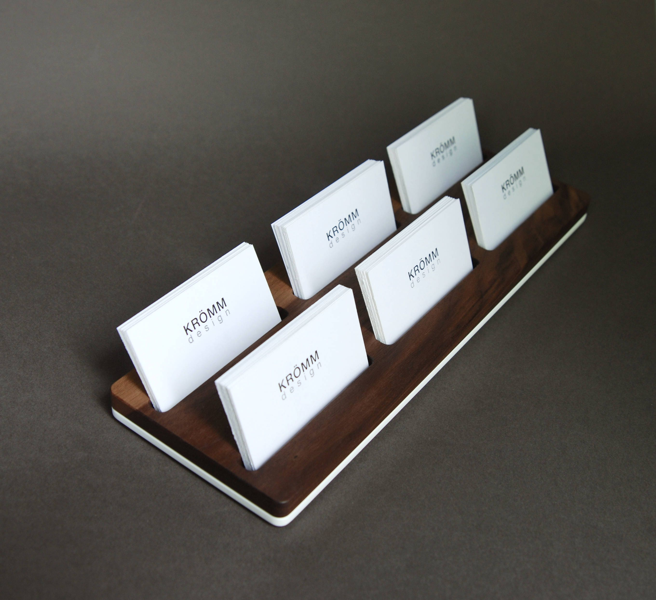 Wood Two-Row Business Card Holder for Front Desk / Wood Business ...