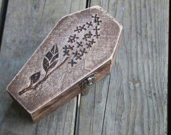 Wood Burned Coffin Box: Lavender Bloom