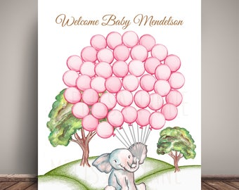 Watercolor Elephant in the Hills Baby Shower Guest Book Alternative - Guests sign a balloon!