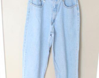 vintage 1980's high rise forenza mom jeans blue denim 30