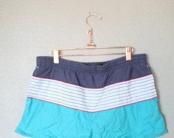 vintage turquoise blue stripe swim trunk surfer short shorts 34