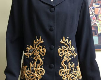 Vintage Carole Little 1940s Style Decorative Fitted Jacket