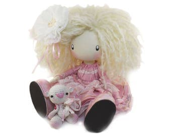 Cute Doll Leylay MADE TO ORDER, Rose Doll, Soft Doll, Blush Pink Handmade Gifts, Textile Nursery Decor, Curly Fabric Doll, Collectable Doll