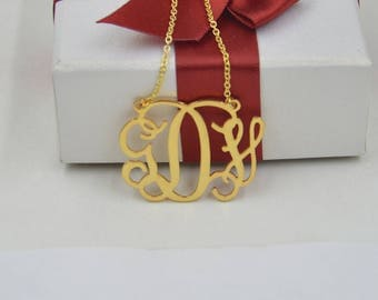 Monogram necklace gold-Personalized monogrammed gifts-custom any initials jewelry gift for girlfriend