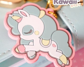 Chic Kawaii lovely and cute unicorn rubber charm.