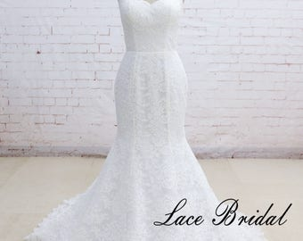Strapless Wedding Dress Elegant Lace Wedding Dress with Strapless Bodice Ivory Alencon Lace Mermaid Wedding Dresses