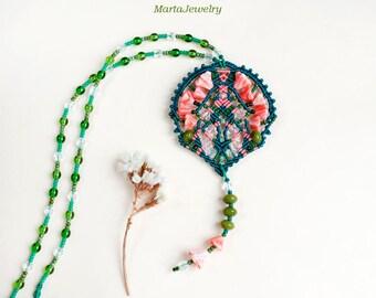 Bohemian necklace, floral, macrame, micro-macrame jewelry, long, layer, glass, beaded, beadwork, unique, boho, beadwoven, coral sea green