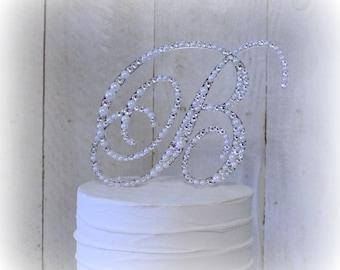 Pearl Swarovski Crystal Wedding Cake Topper, Pearl Crystal Monogram Cake Toppers, Bling Pearl Cake, Rhinestone Pearl Cake Topper, Any Letter