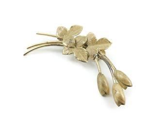 Vintage Sterling Tulips Brooch, Gold Wash, Signed Bond Boyd Sterling