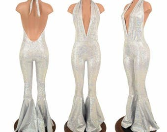 """Silver on White Shattered Glass Holographic """"Josie"""" Halter Catsuit with Bell Bottom Flares - 155103"""