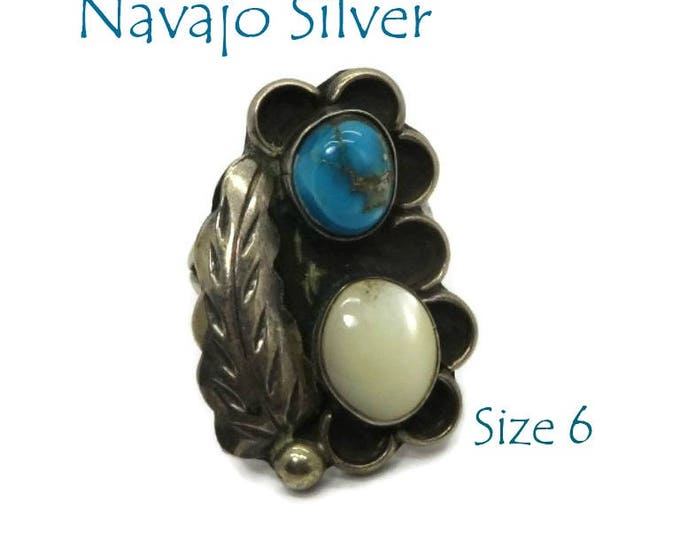 Navajo Silver Ring - Vintage Sterling Silver Feather Ring, Turquoise and MOP Native American Ring, Size 6, Gift Box, Perfect Gift
