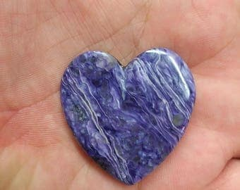 Large Purple Charoite Heart Cabochon/ backed/