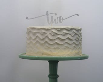 Second Birthday TWO Cake Topper Silver