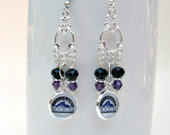 Colorado Rockies Baseball Earrings, Colorado Rockies Jewelry, Rockies Accessories, Sports Jewelry, Baseball Earrings, Rockies Baseball