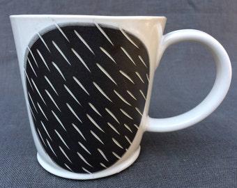 Black and White Stoneware Mug: minimal decoration, modern handmade, hand built, slab built.