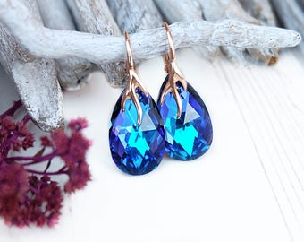 Purple blue crystal earrings Purple bridesmaid earrings Swarovski crystal teardrop earrings Rose gold bridal earrings Heliotrope earrings 5