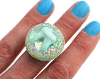 Pastel Goth Ring Real Tooth Ring Iridescent Fairy Kei Oddities Jewellery