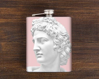 Gift for her, girls flask, ladies flask, ladies flask, girlfriend gift, pink flask, greek art, bridesmaids gifts, 21st birthday gift for her