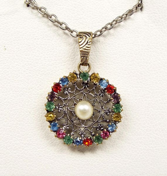 Vintage Silver Tone Dainty Ornate Filigree Harlequin Colourful Pendant Necklace
