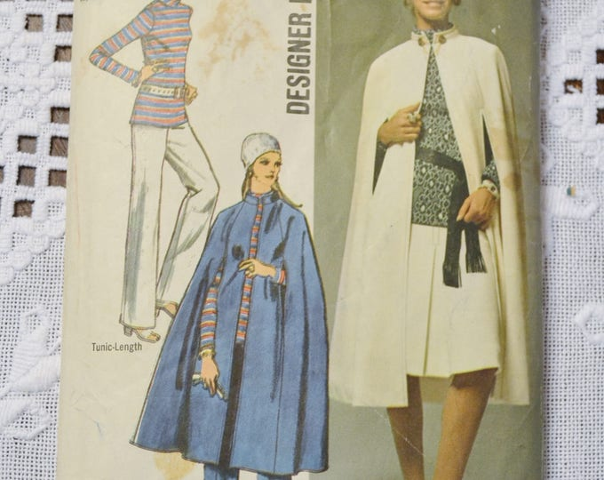 Simplicity 9211 Sewing Pattern Misses Cape Skirt Tunic Pants  Size 10 DIY Vintage Clothing Fashion Sewing Crafts PanchosPorch