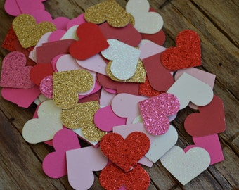 """Valentine's Day Confetti Heart Punches, Heart Cut Outs, Scrapbooking, Embellishments (1"""")   100 Pieces"""