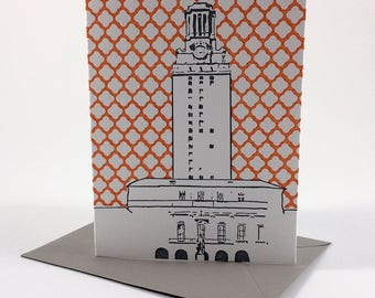 Austin Letterpress Card | University of Texas Tower | gray & orange single blank card with envelope