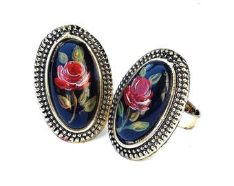 Painted Rose Black Ring Vintage Style Romantic Victorian Jewelry FREE SHIPPING