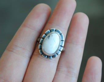 White Buffalo Turquoise Ring - White Buffalo Ring - SIZE 6 - White Buffalo Turquoise Jewelry