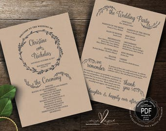 Wedding Program PDF card template, instant download editable printable, Ceremony order card in calligraphy floral rustic theme (TED387_1)
