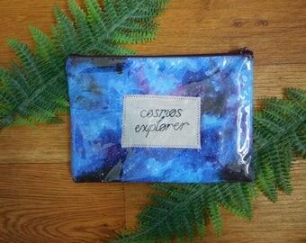 Clear Vinyl Embroidered Pencil Case, Pouch, Makeup Bag || Cosmos Explorer