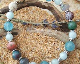 Gemstone Bracelet Healing Crystals Ocean Jasper Aquamarine Angelite Stress Anxiety Birthday Gift Beach Wedding Protection Sea Turtle Rescue