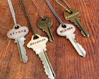 Key Necklace, Hand Stamped Keys, Personalized Necklace, Unique Custom Gift Idea Featuring Upcycled Repurposed Keys