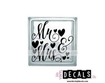 Mr & Mrs (Hearts) - Wedding and Anniversary Vinyl Lettering for Glass Blocks