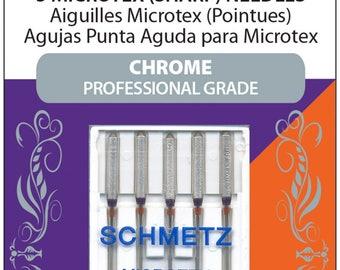 Sewing Needles, Microtex Needles, Schmetz, Chrome Needles, 80/12 Sharp - 5 pack
