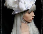 "Tophat ""White rabbit""  ( fascinator, bride, white , Gothic Lolita )"