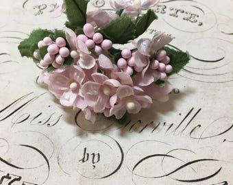 Sweet bunch of pink vintage millinery flowers