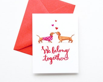 Dachshund Dogs Valentine's Day Cards | Wiener Dog Valentine Cards | Fun and Cute Anniversary Greeting Card